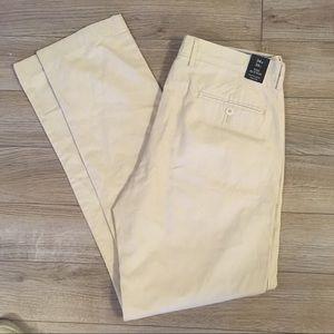 NWT J. CREW Tan / Cream Slim Fit Pants 34 x 34